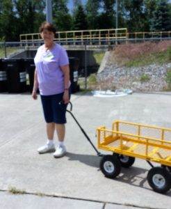 Volunteers use our Yellow Wagons to assist clients in getting their food from the Pantry to the cars.